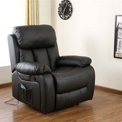 game chair recliner chester black heated leather massage recliner chair sofa