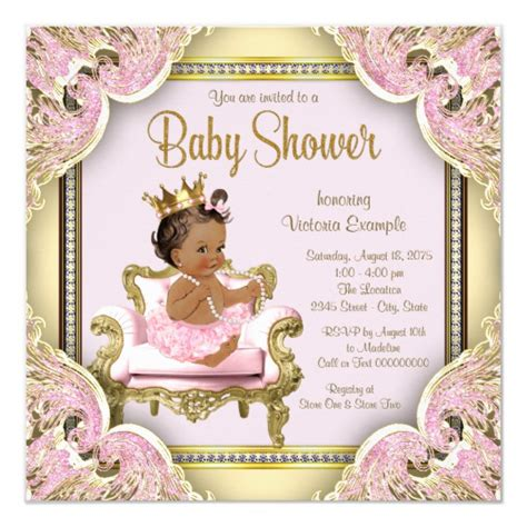 African American Princess Baby Shower Invitation Zazzle Princess Baby Shower Invitation Templates Free