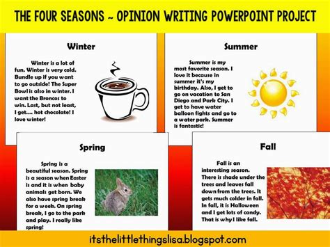 My Favourite Season Essay Essay On My My Essay Is Essential To Academic My by It S The Things Opinion Writing In Second Grade The Four Seasons Powerpoint Project