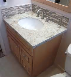 How To Install Backsplash how to install vanity granite top stone glass backsplash