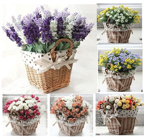 decorative flowers for home aliexpress buy rattan square storage basket vase with lavender artificial flower home