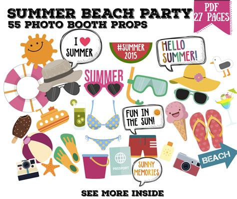 printable photo booth props beach summer beach party photo booth props set 55 by lovelyplannerco