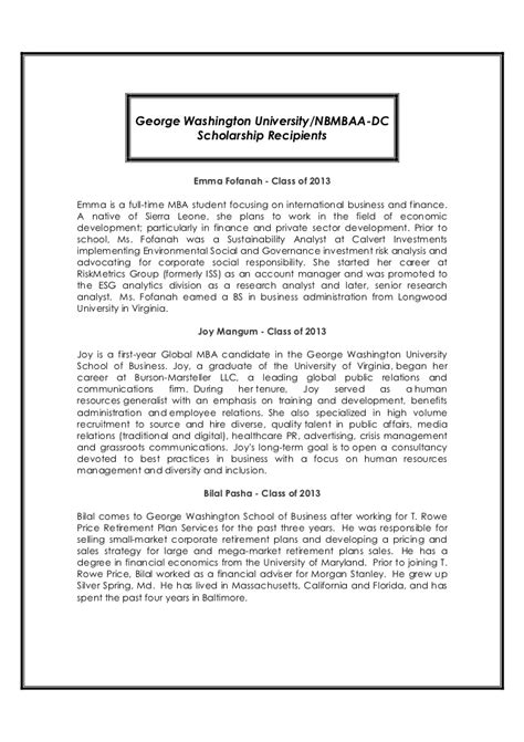 Howard Mba Scholarship by 2011 Nbmbaa Dc Scholarship Awards Gala Program
