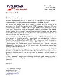 Volunteer Reference Letter by Reference Letter Wellstar