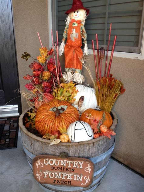 Whiskey Barrel Decor by Fall Decor In A Whiskey Barrel Fall And