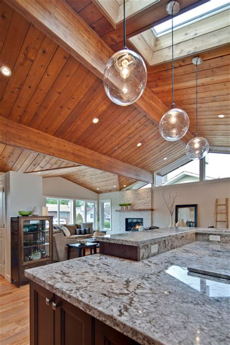 kitchen  wood paneled ceiling  skylight
