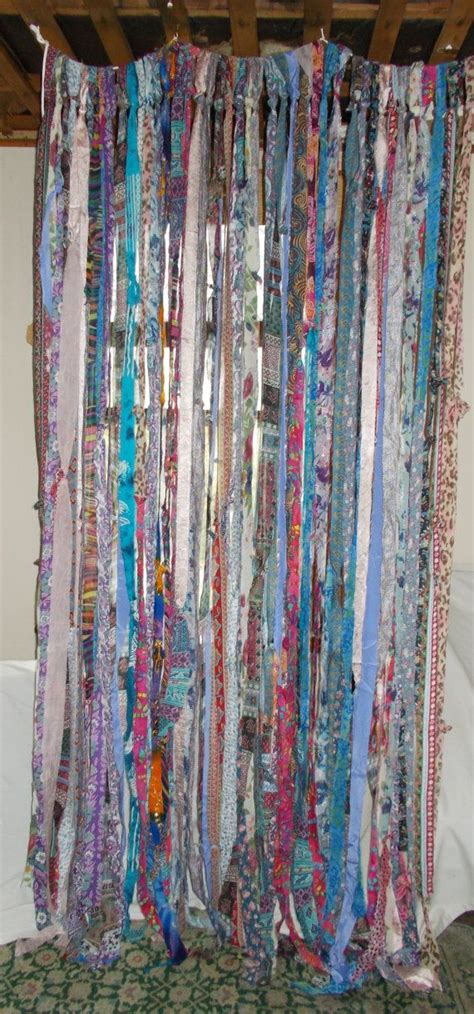 Bohemian Style Curtains Boho Hippie Garland Banner Curtain Backdrop Room Divider Bedroom Upcycled Rag Re