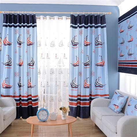 blue nautical curtains blue nautical print polyester color block kids curtains