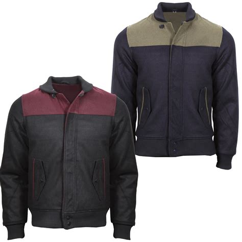 new mens contrast two tone bomber jacket coat navy khaki burgundy black s
