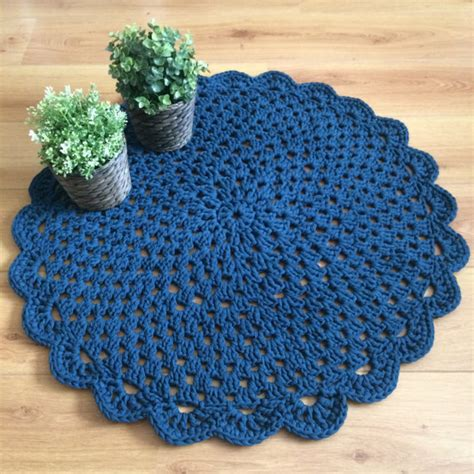 crochet denim rug crochet doily rug denim blue