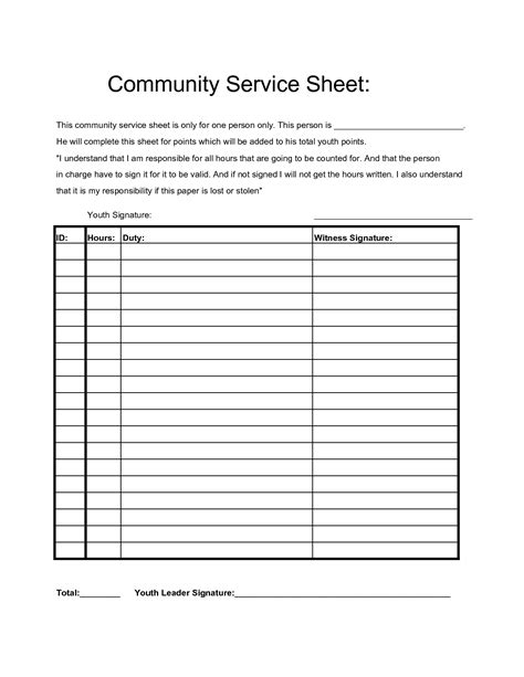 Service Sheet Template by Community Service Hours Sheet Projects To Try
