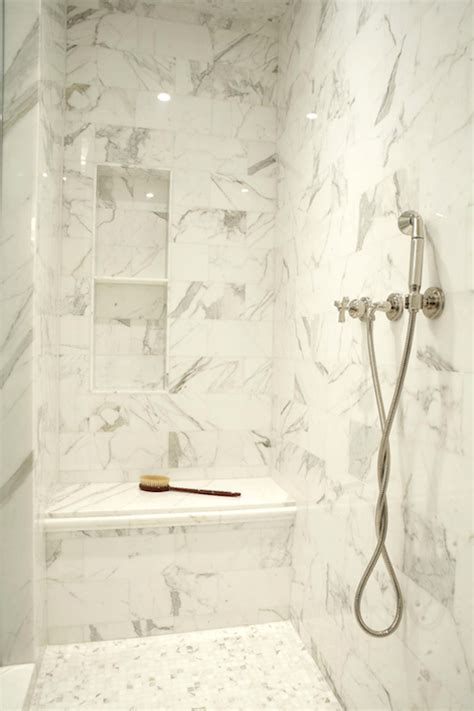 marble shower niche contemporary bathroom the