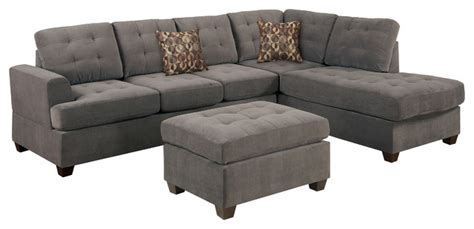 Transitional Sectional Sofa by Poundex Suede Microfiber Fabric Sectional Sofa