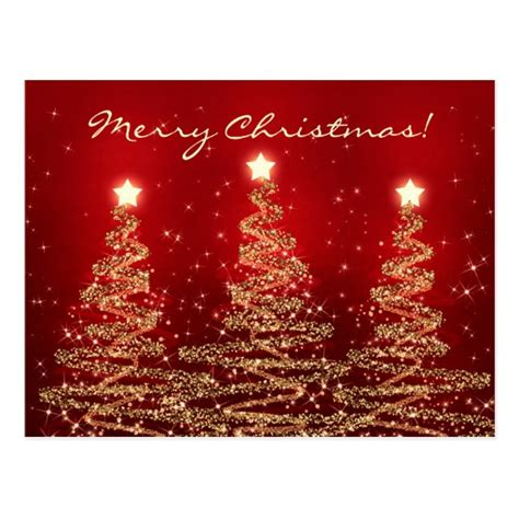 merry christmas elegant sparkling trees red postcard zazzle