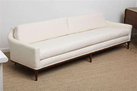 curved back walnut framed linen covered sofa at 1stdibs