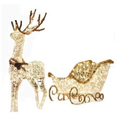 outdoor lighted sleigh and reindeer lighted grapevine reindeer and sleigh yard decor