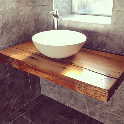 our floating bathroom shelf with vessel bowl sink handcrafted wood reclaimed railway sleepers
