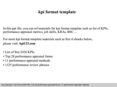 kpi format template kpi format template