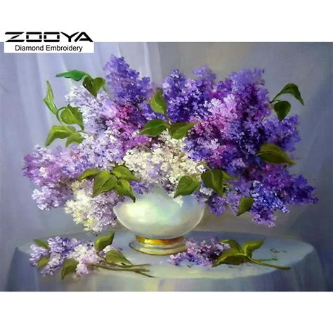 Paintings Of Flowers In Vases by Diy Painting Needlework Square Embroidery Purple Lilac Flower Vase Painting