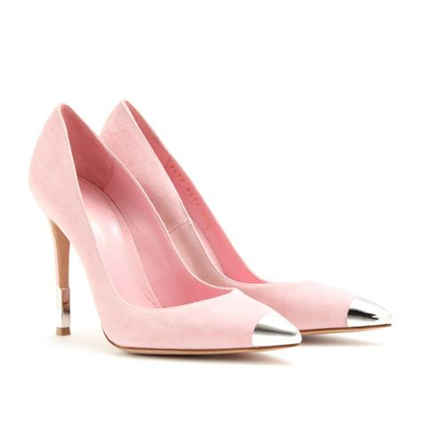 shoeniverse ppp suede pointy toe pink metal accent