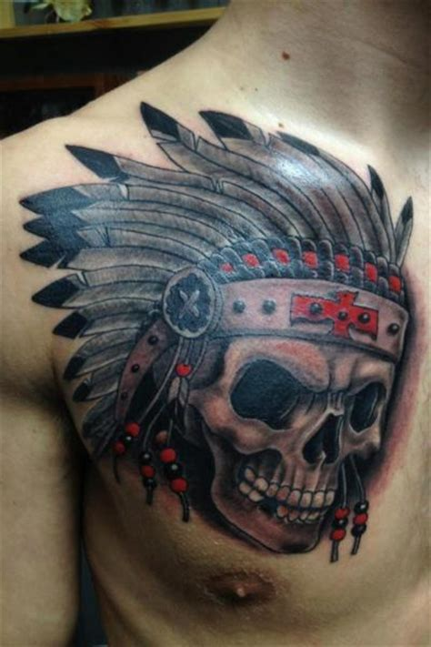 tattoo chest indian chest skull indian tattoo by fixed army