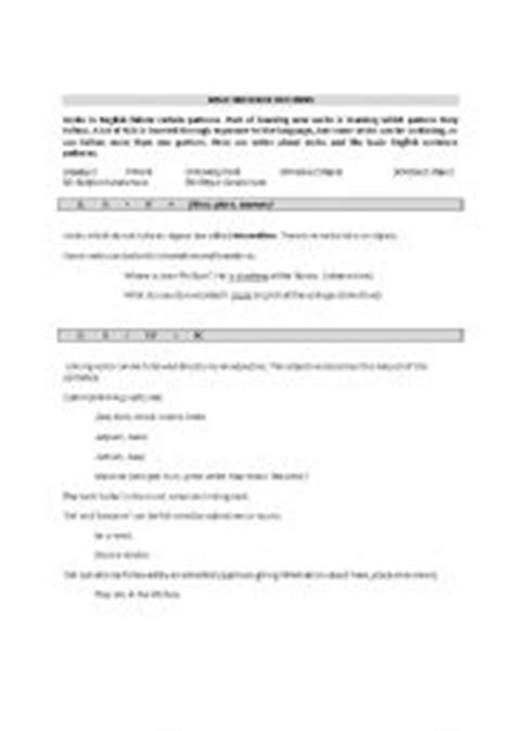 sentence patterns review worksheet basic sentence pattern for grade 7 english teaching
