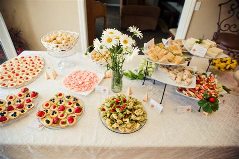 menu ideas for afternoon bridal shower tea punch cut fruit watermeolon cake cupcakes chocolate scones veggies utensils