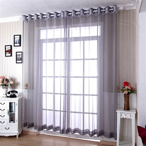 Simple Curtains For Living Room Living Room Yarn Modern Grey Sheer Curtains
