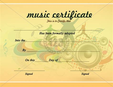 beautiful music certificate template certificate