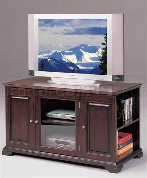 espresso finish modern tv stand w side shelves