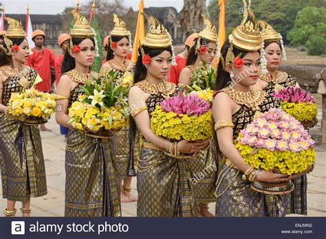 new year in cambodia khmer new year at angkor wat in siem reap cambodia stock