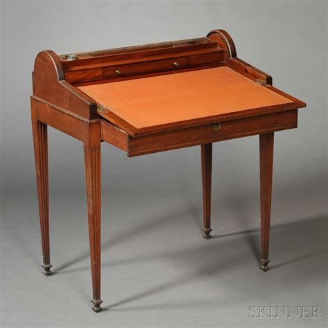 Federal Desk by Federal Carved And Inlaid Mahogany Tambour Writing Desk On