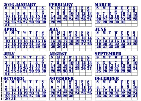 printable calendar 2016 entire year blank 2016 full year calendar