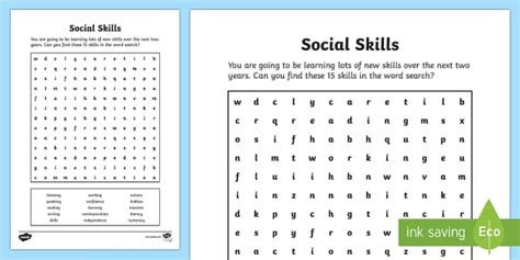 social skills word search key stage 4 entry level word
