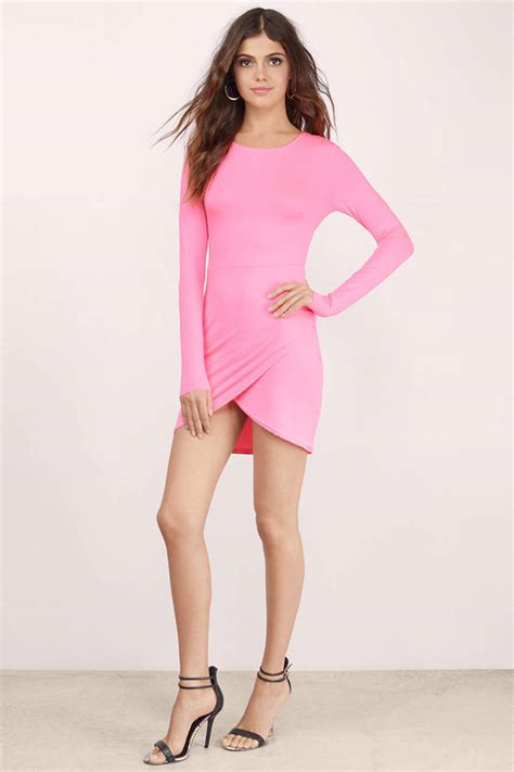 light pink bodycon dress pink dress long sleeve dress beautiful pink dress