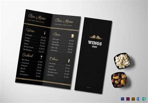 bar card template 30 bar menus sle templates