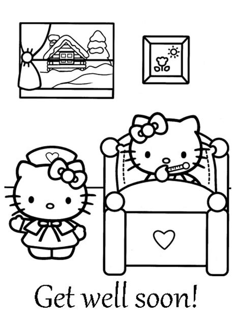printable coloring pages get well cards images for gt hello kitty get well soon card