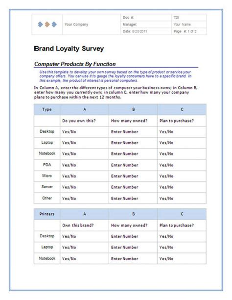 Excel 2010 Survey Template by Modele Questionnaire Word 2010 Document