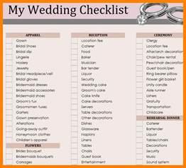 Wedding List Spreadsheet Template 5 Wedding Checklist Template Monthly Budget Forms
