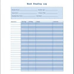 book reading log template format template