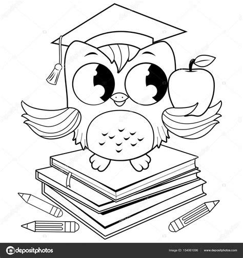 imagenes en blanco y negro de buhos buho en libros con sombrero de graduaci 243 n blanco y negro