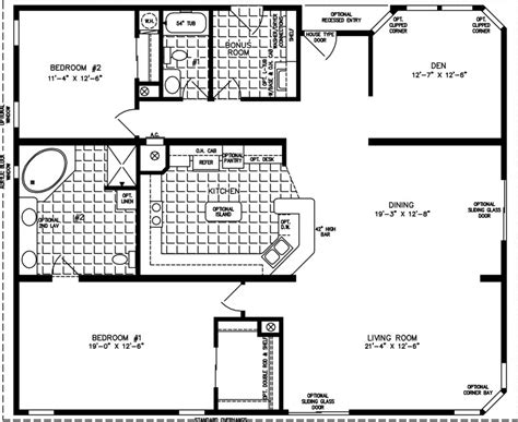 Two Bedroom Two Bath Floor Plans by Two Bedroom Mobile Homes L 2 Bedroom Floor Plans