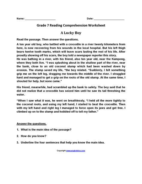 7 grade reading worksheets worksheet free printable 7th grade reading comprehension