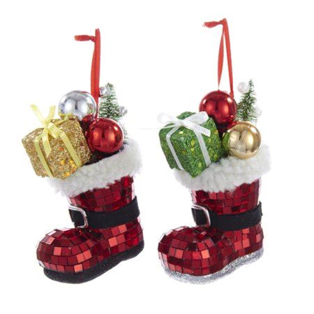 walmart ornaments pack club pack of 12 mirror santa boot with decorations ornaments 4 5 quot walmart
