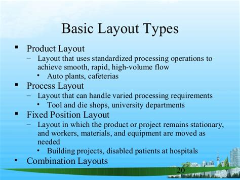 product layout with exles process design layout