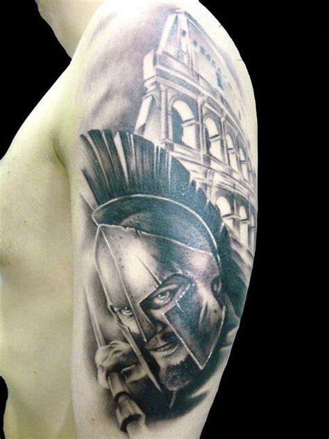 black and white italian colosseum and rome warrior tattoo