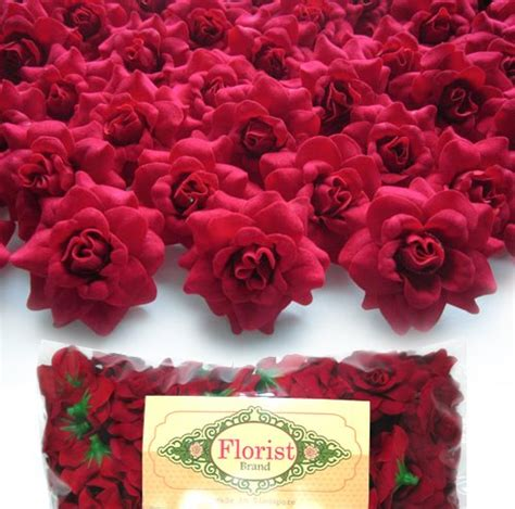 shop wholesale floral garden supplies and home decor items 100 silk red roses flower head 1 75 quot artificial