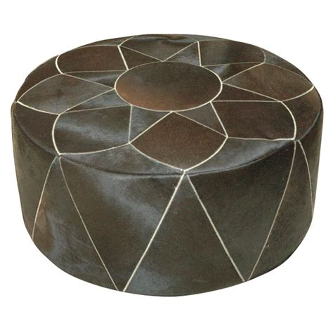 poufs and ottomans large cowhide pouf or ottoman at 1stdibs