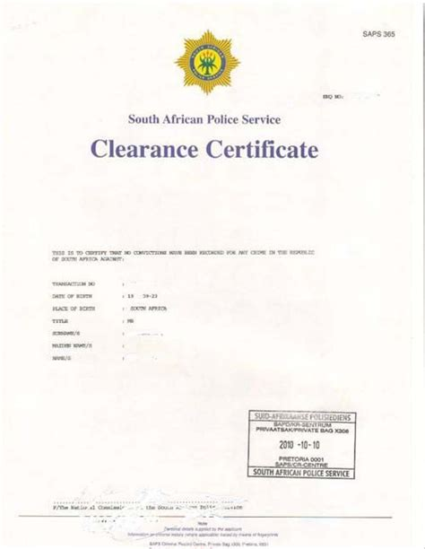 Sa Criminal Record Centre South Clearance Certificate Nelmitravel