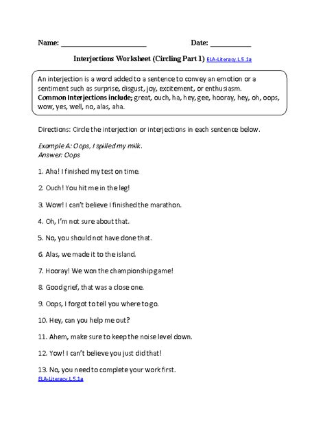 Language Worksheets For 5th Grade by 5th Grade Common Language Worksheets